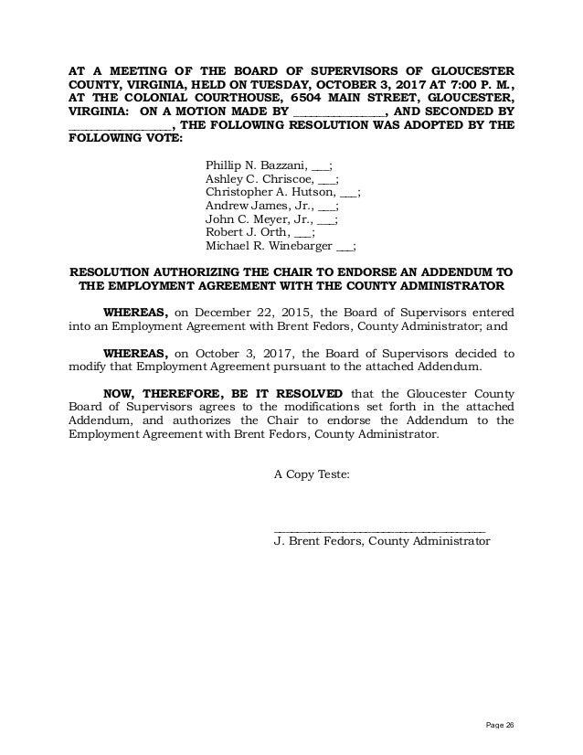 Gloucester County Admistrator Perks