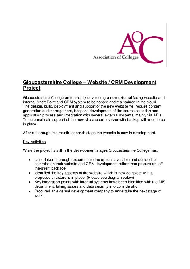 Gloucestershire College – Website / CRM Development Project Gloucestershire College are currently developing a new externa...