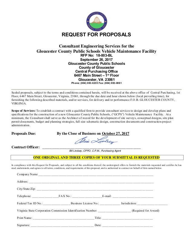 REQUEST FOR PROPOSALS Consultant Engineering Services for the Gloucester County Public Schools Vehicle Maintenance Facilit...