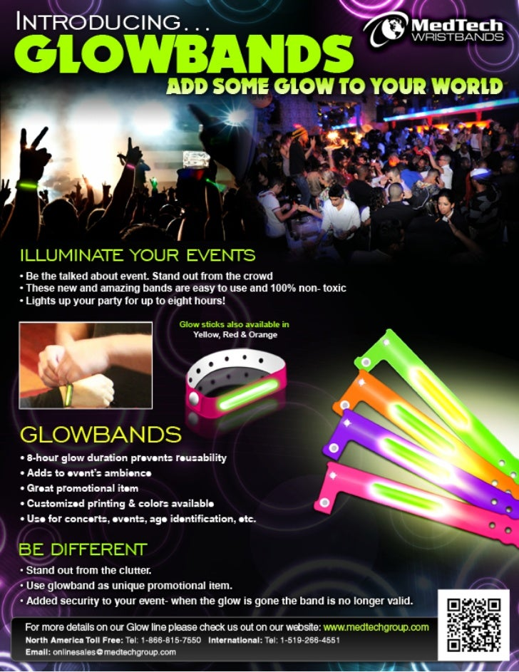 Glow in the dark wristbands flyer