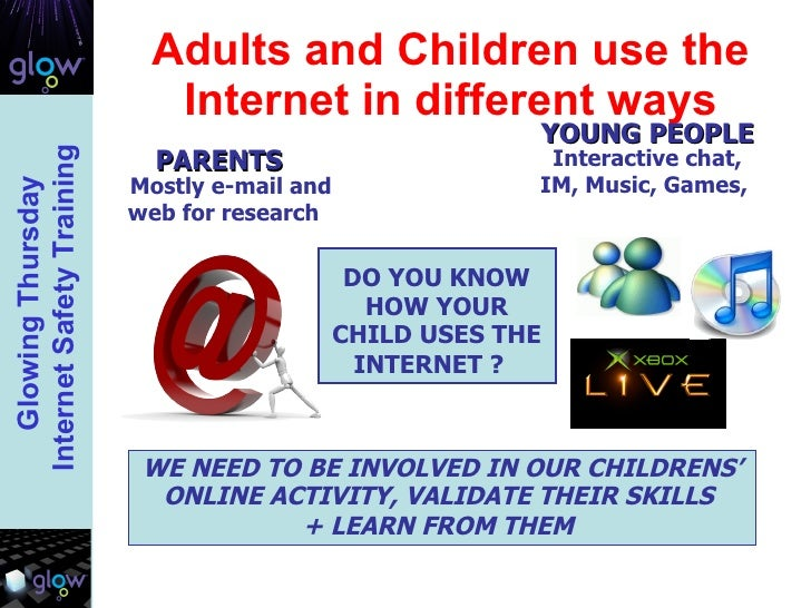 Adults and Children use the Internet in different ways DO YOU KNOW HOW YOUR CHILD USES THE INTERNET ?   WE NEED TO BE INVO...