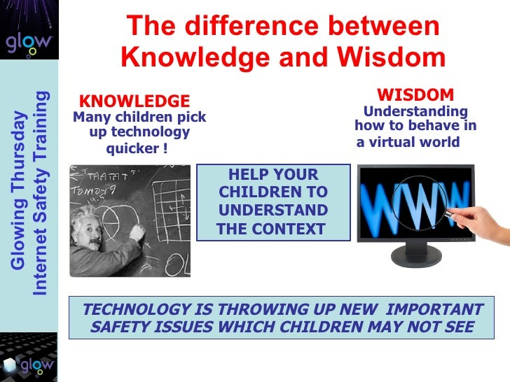 The difference between Knowledge and Wisdom HELP YOUR CHILDREN TO UNDERSTAND THE CONTEXT   TECHNOLOGY IS THROWING UP NEW  ...