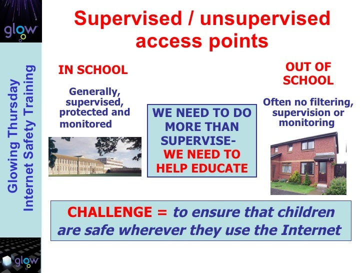 Supervised / unsupervised access points WE NEED TO DO MORE THAN SUPERVISE-  WE NEED TO HELP EDUCATE CHALLENGE =   to ensur...