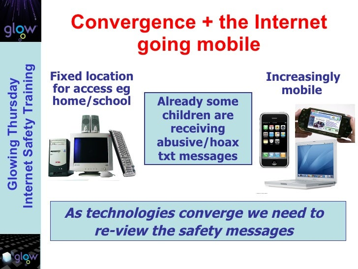 Convergence + the Internet going mobile Already some children are receiving abusive/hoax txt messages As technologies conv...
