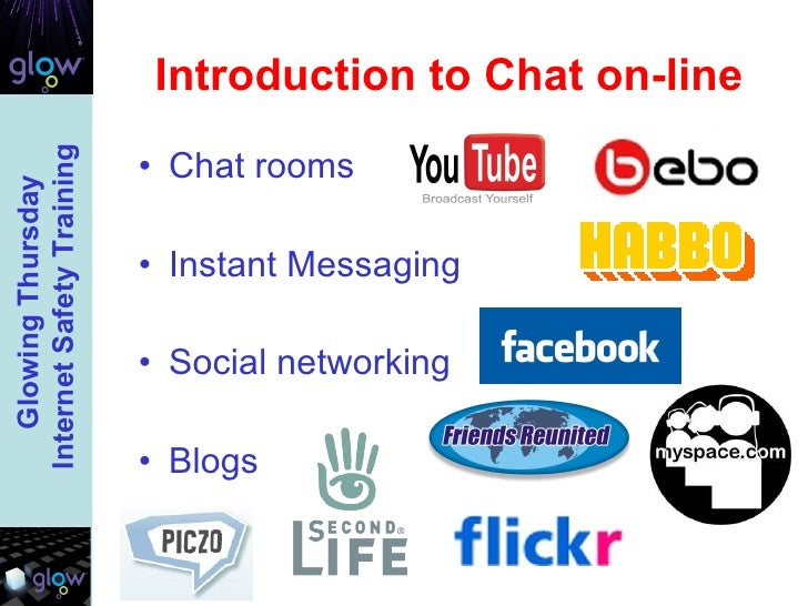 Introduction to Chat on-line <ul><li>Chat rooms </li></ul><ul><li>Instant Messaging  </li></ul><ul><li>Social networking <...