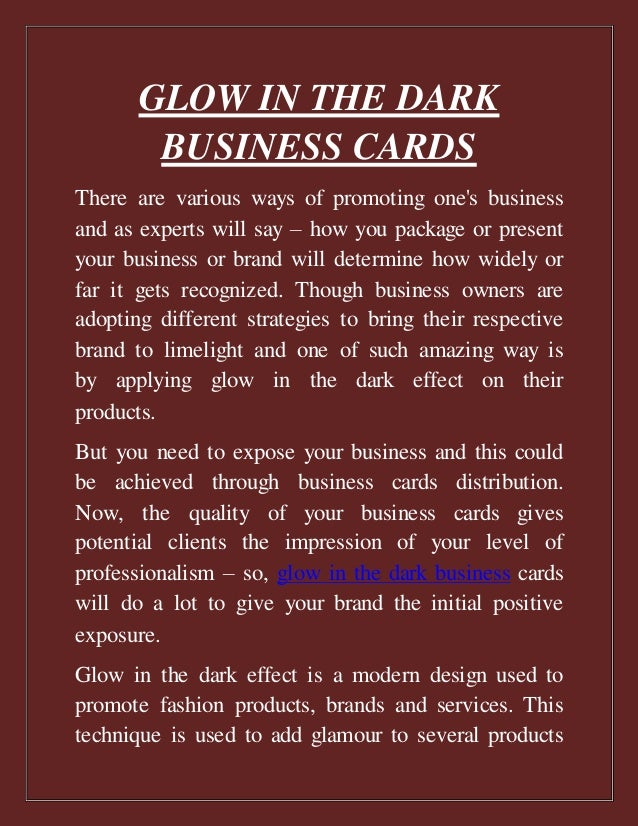 Glow in the dark business cards glow in the dark business cards there are various ways of promoting ones business and as colourmoves
