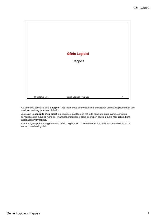 05/10/2010                                                       Génie Logiciel                                           ...