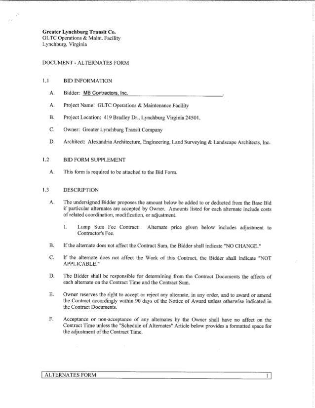 bid forms for contractors