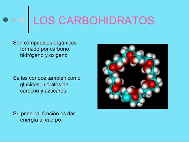 LOS CARBOHIDRATOS Son compuestos orgánicos formado por carbono, hidrógeno y oxigeno  Se les conoce también como glúcidos, ...