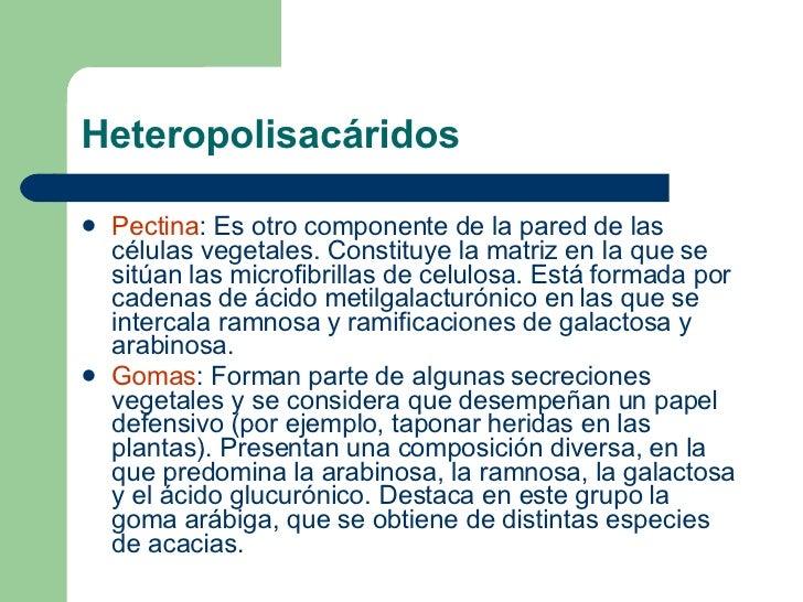 Heteropolisacáridos <ul><li>Pectina : Es otro componente de la pared de las células vegetales. Constituye la matriz en la ...