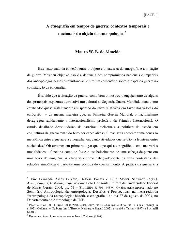 {PAGE }              A etnografia em tempos de guerra: contextos temporais e                                              ...