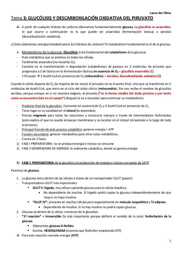Laura del OlmoTema 3: GLUCÓLISIS Y DESCARBOXILACIÓN OXIDATIVA DEL PIRUVATO        A partir de cualquier hidrato de carbono...