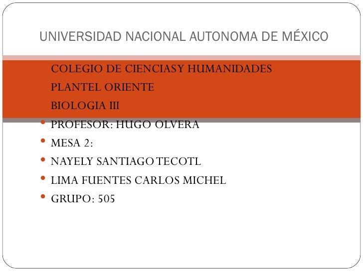 UNIVERSIDAD NACIONAL AUTONOMA DE MÉXICO COLEGIO DE CIENCIAS Y HUMANIDADES PLANTEL ORIENTE BIOLOGIA III PROFESOR: HUGO ...