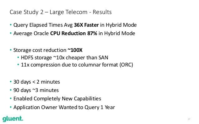 27 • Query Elapsed Times Avg 36X Faster in Hybrid Mode • Average Oracle CPU Reduction 87% in Hybrid Mode • Storage cost re...