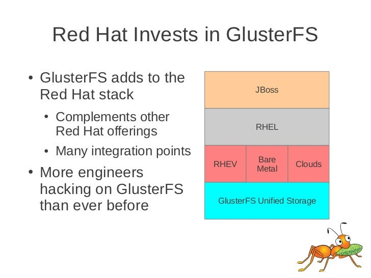 Red Hat Invests in GlusterFS●   GlusterFS adds to the                                           JBoss    Red Hat stack    ...