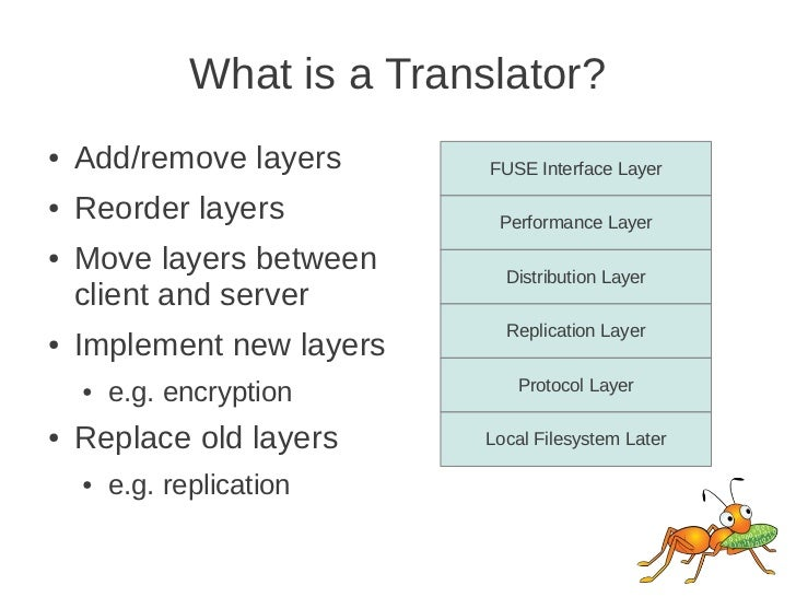 What is a Translator?●   Add/remove layers         FUSE Interface Layer●   Reorder layers             Performance Layer●  ...
