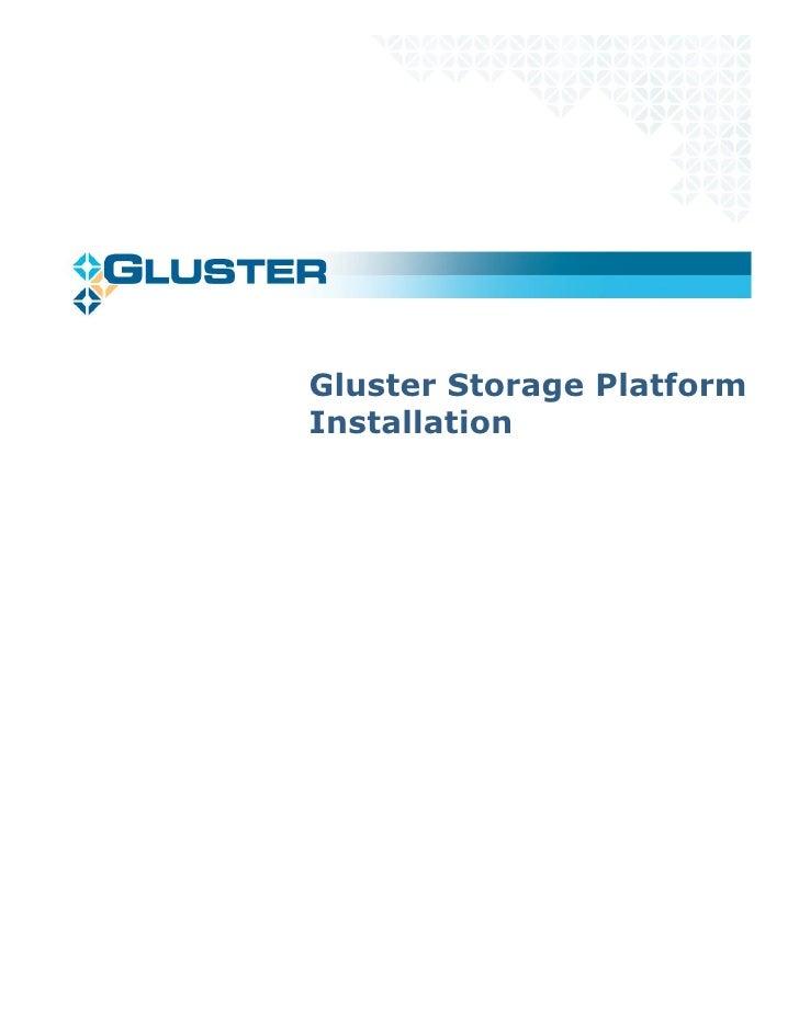 Gluster Storage Platform Installation