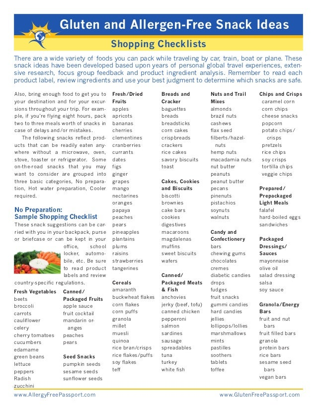 Gluten and Allergen-Free Snack Ideas                                          Shopping ChecklistsThere are a wide variety ...