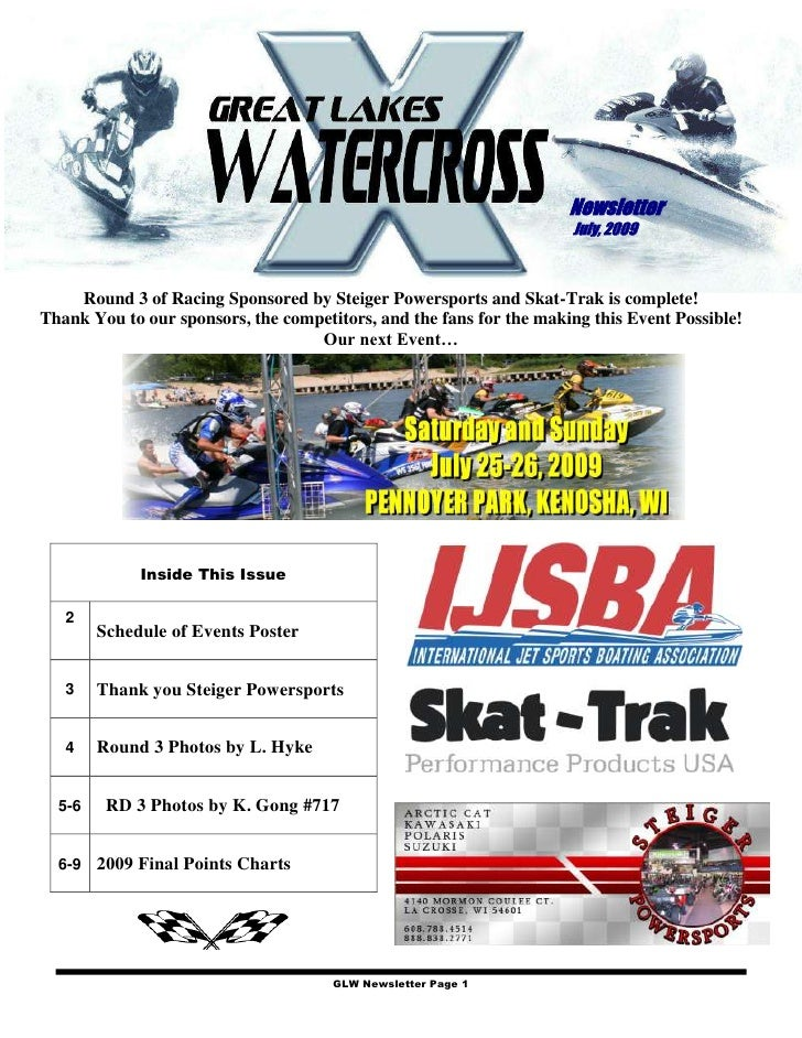 Newsletter                                                                      July, 2009        Round 3 of Racing Sponso...
