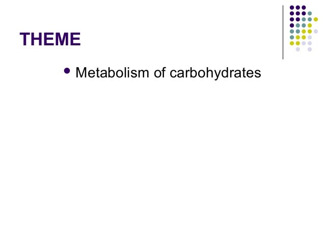 THEME  Metabolism  of carbohydrates