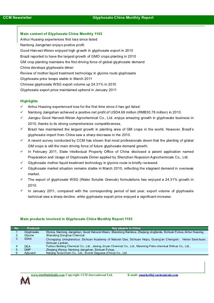 CCM Newsletter                                                   Glyphosate China Monthly Report           Main content of...