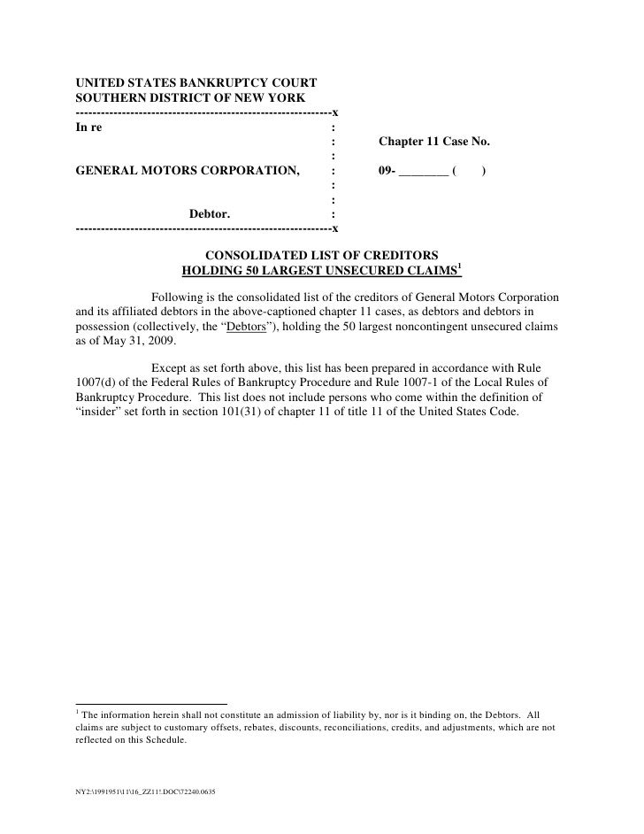 Findlaw Gm Bankruptcy Petition