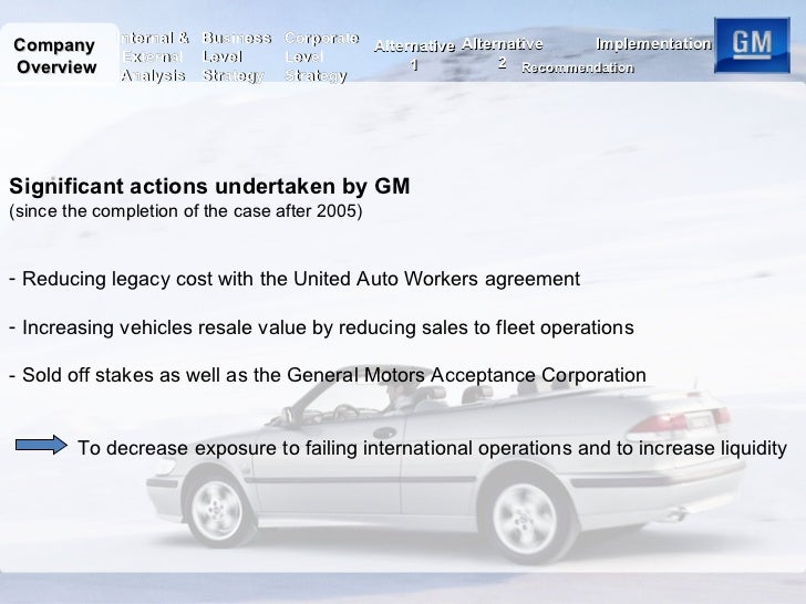 general motors essay Company review - standard motors problem diagnosis general motors was diversifying rapidly and it opened its subsidiary in china the culture of basic motors collided with chinese language organizational culture which lead to the staff strike at the machine.