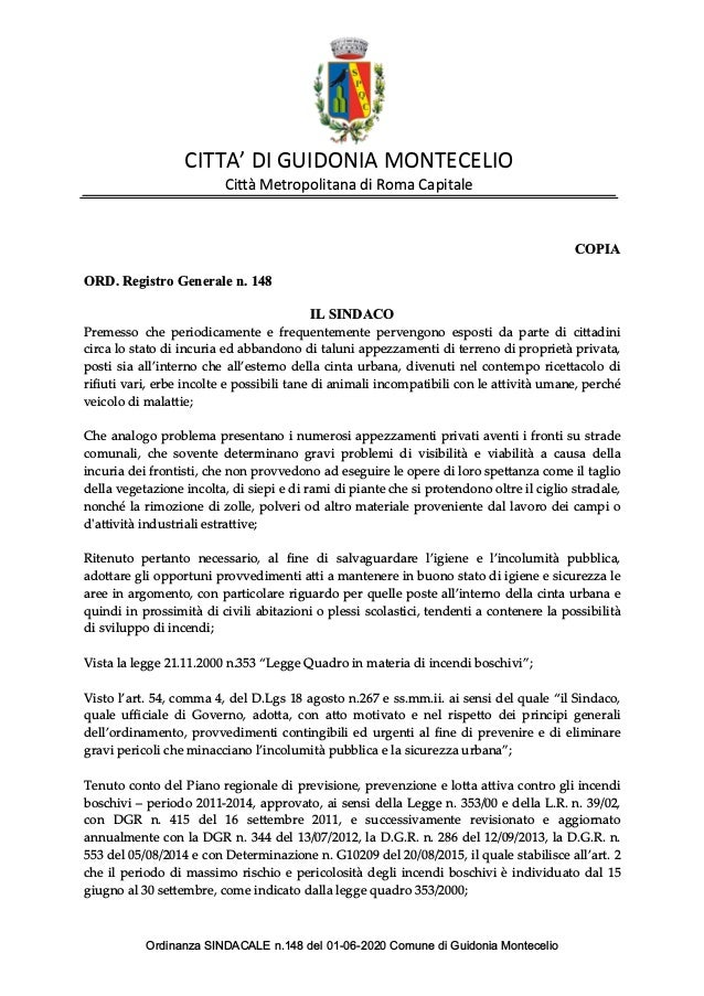 CITTA'DIGUIDONIAMONTECELIO CittàMetropolitanadiRomaCapitale COPIA ORD.RegistroGeneralen.148 ILSINDACO Premessocheperiodica...