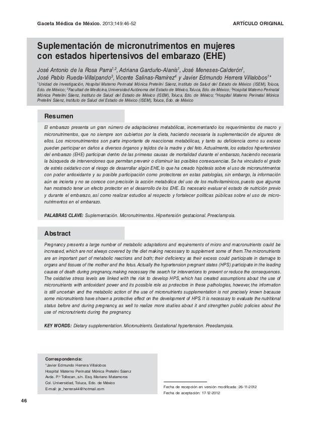 Gaceta Médica de México. 2013;149 2013;149:46-52  ARTÍCULO ORIGINAL  Suplementación de micronutrimentos en mujeres con est...
