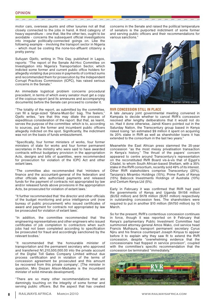 Railways africa march 2010 for Rmr corporation blower motor