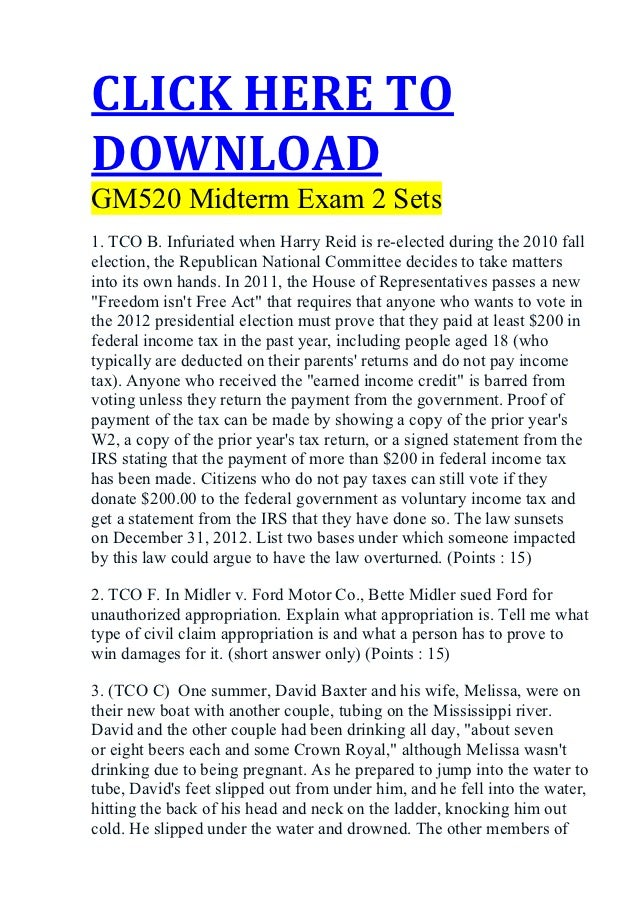 CLICK HERE TODOWNLOADGM520 Midterm Exam 2 Sets1. TCO B. Infuriated when Harry Reid is re-elected during the 2010 fallelect...