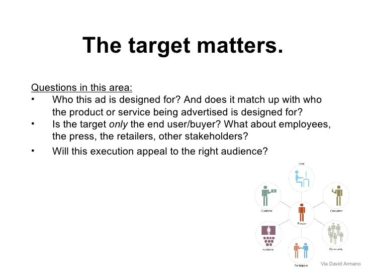 The target matters. <ul><li>Questions in this area: </li></ul><ul><li>Who this ad is designed for? And does it match up wi...