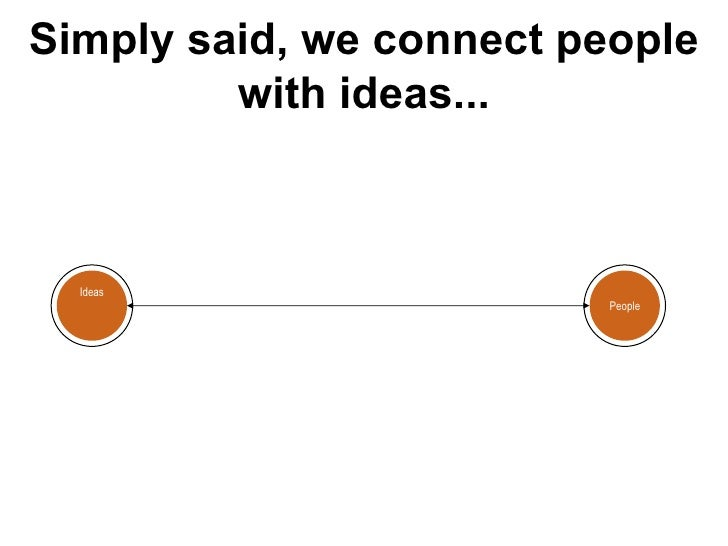 Simply said, we connect people with ideas... People Ideas