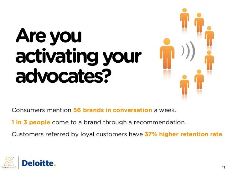 Are you                                               )))  activating your  advocates? Consumers mention 56 brands in conv...