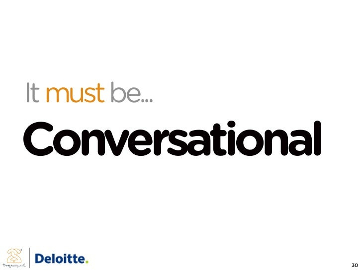 It must be... Conversational                   30