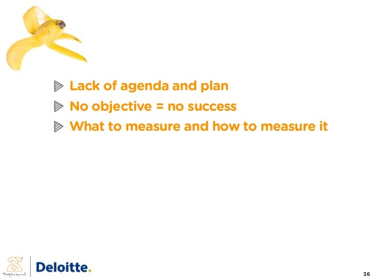 Lack of agenda and plan No objective = no success What to measure and how to measure it                                   ...