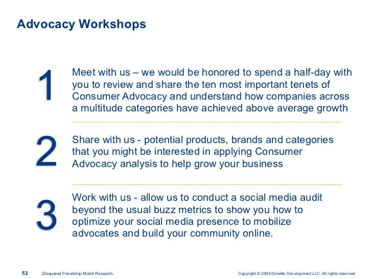 Advocacy Workshops          1                     Meet with us – we would be honored to spend a half-day with             ...