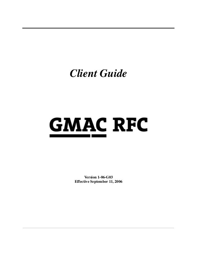 GMAC Mortgage Underwriting Guidelines 9-11-2006