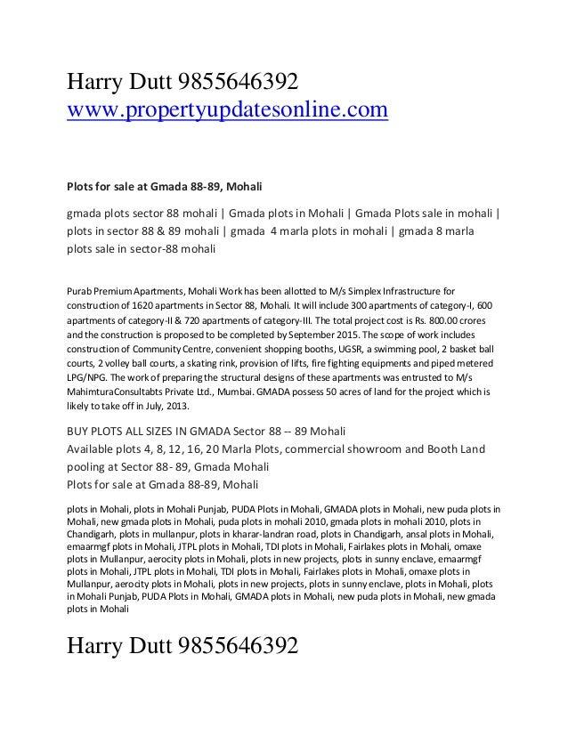 Harry Dutt 9855646392 www.propertyupdatesonline.com Plots for sale at Gmada 88-89, Mohali gmada plots sector 88 mohali | G...