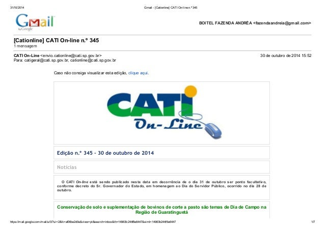 31/10/2014 Gmail - [Cationline] CATI On-line n.º 345  [Cationline] CATI On-line n.º 345  1 mensagem  CATI On-Line <envio.c...