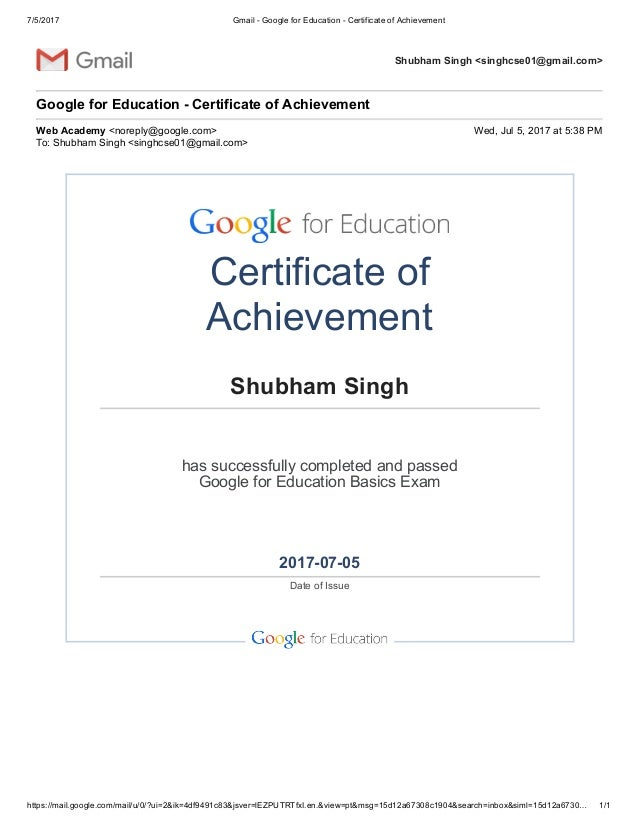 Gmail Google For Education Certificate Of Achievement
