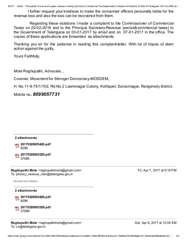 Telangana commercial taxes corruption letter to cm 3 spiritdancerdesigns Gallery