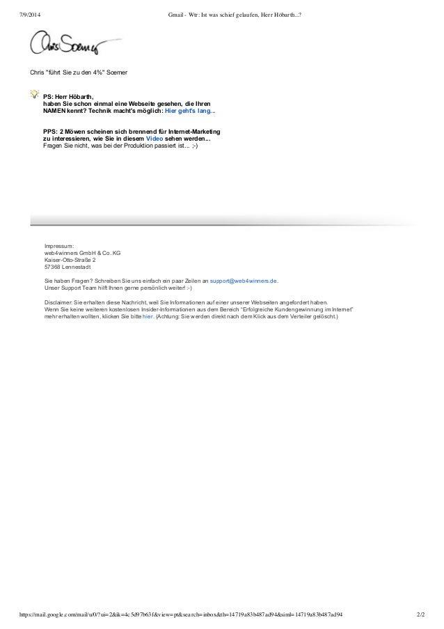 Gmail   wtr  ist was schief gelaufen, herr höbarth.. Slide 2