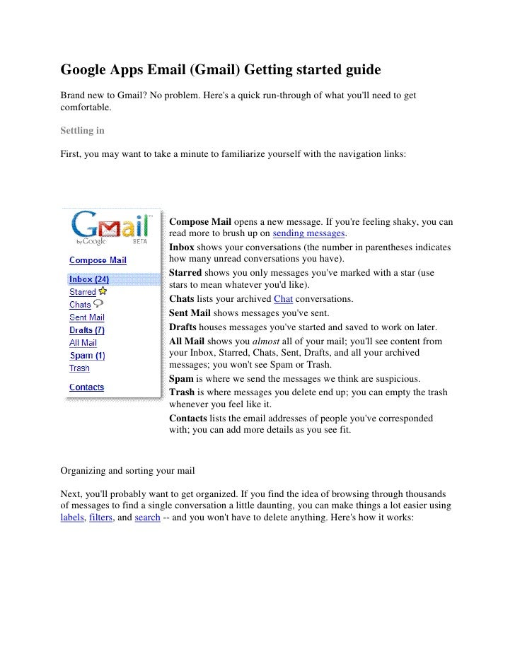 Google Apps Email (Gmail) Getting started guide Brand new to Gmail? No problem. Here's a quick run-through of what you'll ...