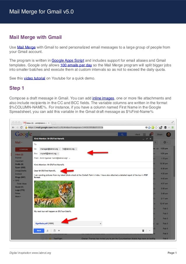 Mail Merge for Gmail v5.0  Mail Merge with Gmail Use Mail Merge with Gmail to send personalized email messages to a large ...