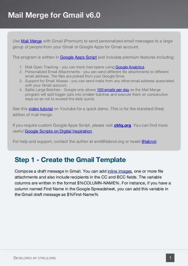 Use Mail Merge with Gmail (Premium) to send personalized email messages to a large group of people from your Gmail or Goog...