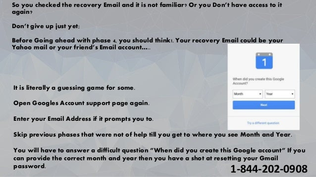 Recover Gmail Account (1-844-292-0908) by Resetting Password