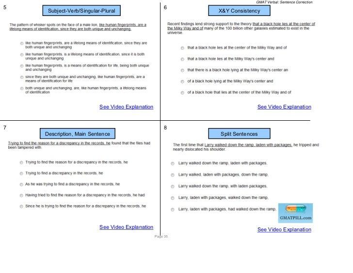GMAT Verbal: Sentence Correction5                                                     6     Subject-Verb/Singular-Plural  ...