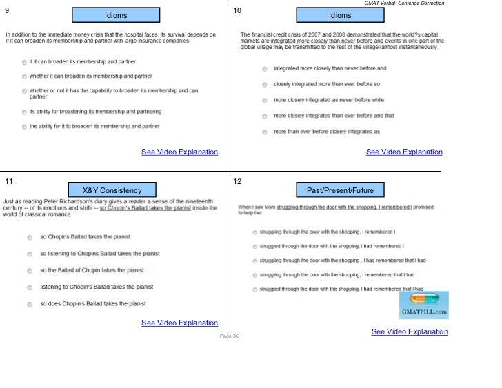 GMAT Verbal: Sentence Correction9                                                  10          Idioms                     ...