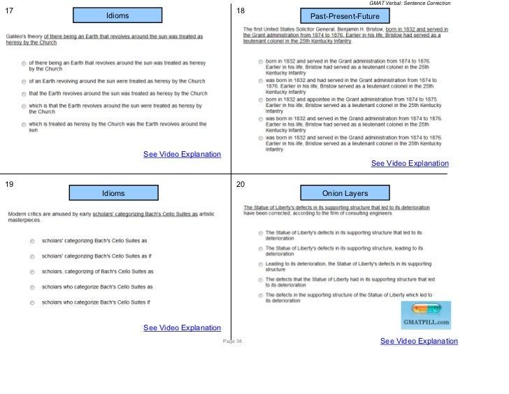 GMAT Verbal: Sentence Correction17                                         18      Idioms                                 ...
